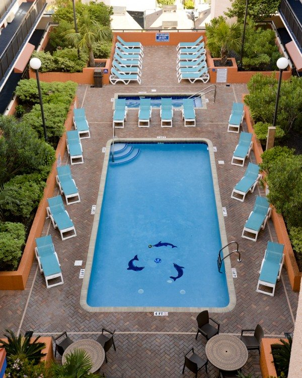 Birdseye view of rooftop pool at monterey bay